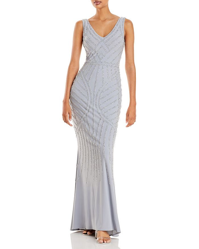 AQUA - Embellished Column Gown - 100% Exclusive