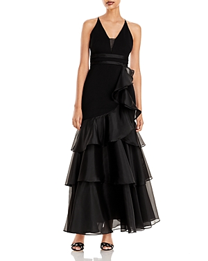 Tiered-Ruffle Crepe Gown