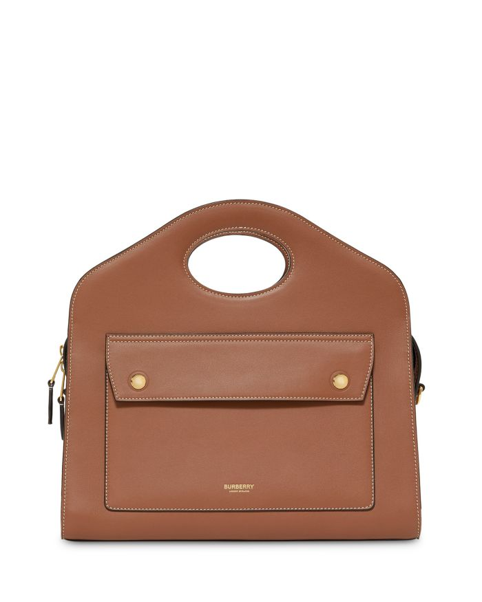Burberry Small Leather Pocket Tote Bag    Bloomingdale's