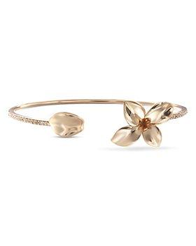 Pasquale Bruni - 18K Rose Gold Petit Garden Champagne Diamond Flower Cuff Bangle Bracelet