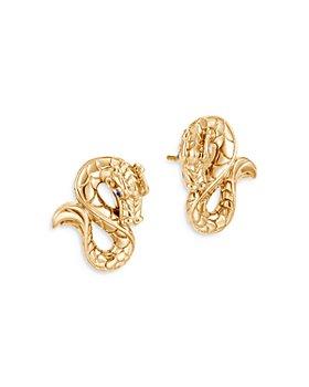JOHN HARDY - 18K Yellow Gold Legends Naga Blue Sapphire Dragon Stud Earrings