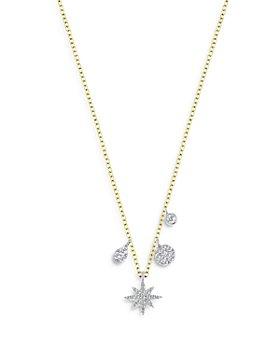 """Meira T - 14K Yellow Gold Starburst Necklace with Diamonds, 18"""""""