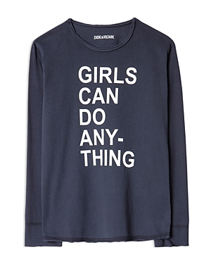 Zadig & Voltaire Girls\\\' Anie Cotton Graphic Long Sleeve Tee - Little Kid, Big Kid-Kids
