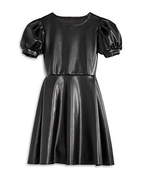 AQUA - Girls' Faux Leather Puff Sleeve Dress, Big Kid - 100% Exclusive