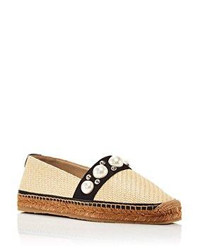 Jimmy Choo - Women's Dru Square Toe Stud & Imitation Pearl Embellished Espadrille Flats
