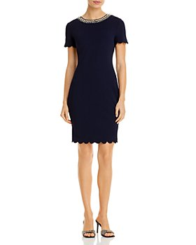 KARL LAGERFELD PARIS - Embellished Scalloped Dress