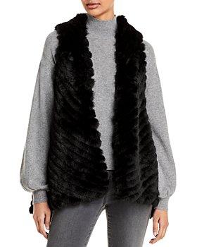 Jocelyn - Striped Faux Fur Asymmetric Vest