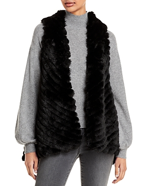 Striped Faux Fur Asymmetric Vest