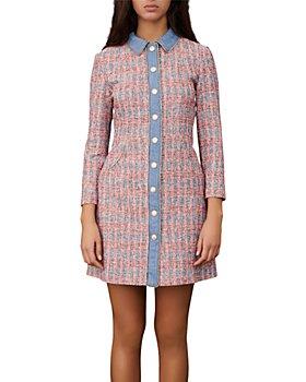Maje - Renise Chambray Trim Tweed Shirt Dress