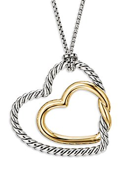 David Yurman - Sterling Silver & 18K Yellow Gold Continuance Heart Necklace, 36""
