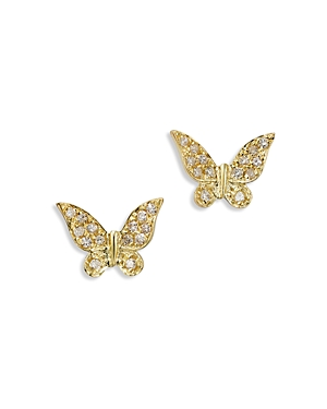 Meira T 14K Yellow Gold Diamond Butterfly Earrings-Jewelry & Accessories