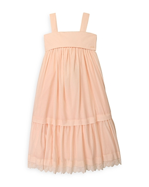 Chloé GIRLS' COTTON TIERED SLEEVELESS DRESS - BIG KID