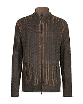 John Varvatos Collection - Cable Knit Zip Up Sweater