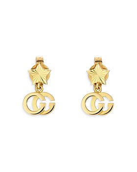 Gucci - 18K Yellow Gold Double G Drop Earrings