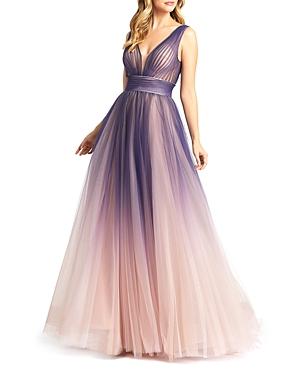 Mac Duggal Ombre V Neck Gown-Women