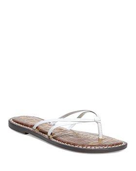 Sam Edelman - Women's Gerianne Buckle Embossed Faux Leather Flip-Flops