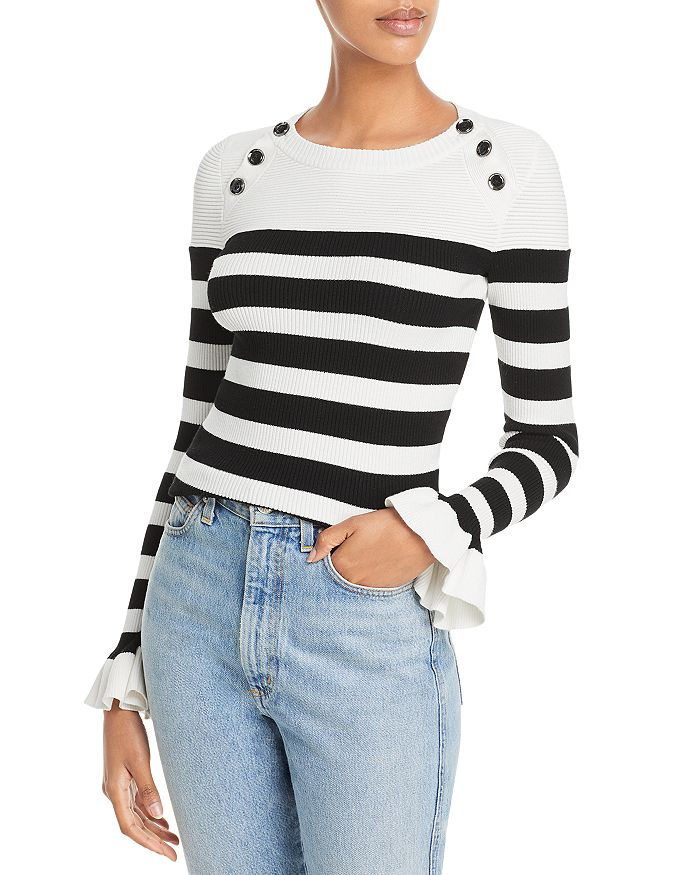 MILLY - Button Shoulder Striped Rib Knit Sweater