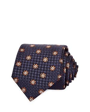 Canali Floral Medallion Micro Check Silk Classic Tie