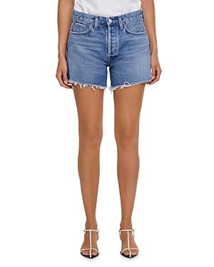 Agolde Parker Long Jean Shorts in Skywave