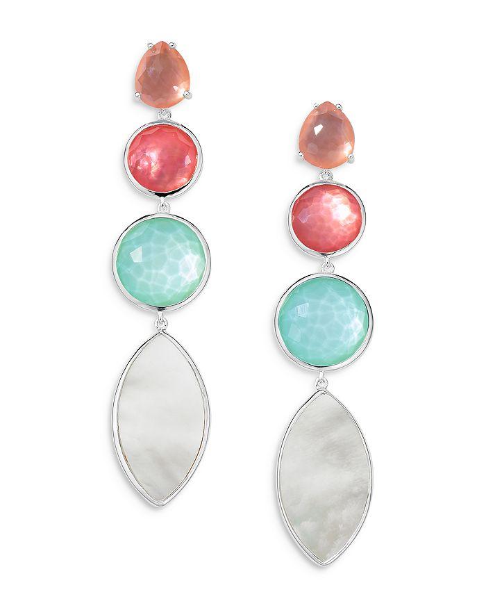 IPPOLITA Earrings STERLING SILVER WONDERLAND 4-STONE LINEAR EARRINGS IN SAGUARO
