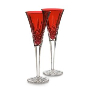 Waterford Lismore Crimson Champagne Flutes, Set of 2