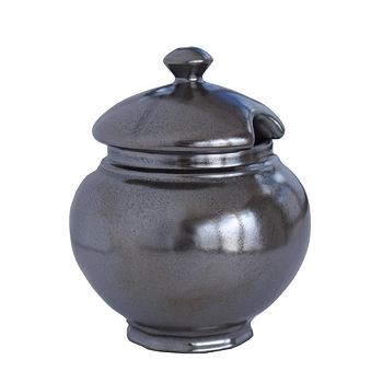 Juliska - Pewter Stoneware Covered Sugar Bowl, 8 oz.