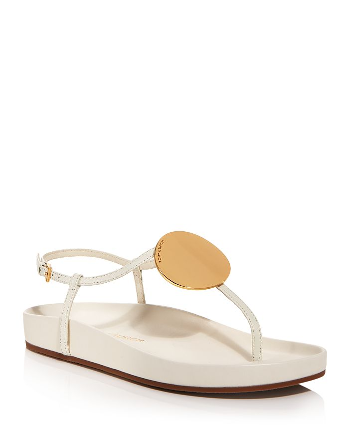 Tory Burch - Women's Patos Gold Tone Medallion Leather Thong Sandals
