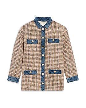 Sandro - Christine Quilted Trim Tweed Jacket