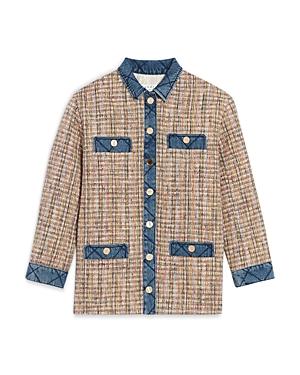 Sandro Christine Quilted Trim Tweed Jacket