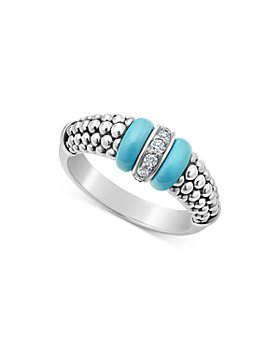 LAGOS - Blue Caviar & Diamond Sterling Silver Tapered Ring
