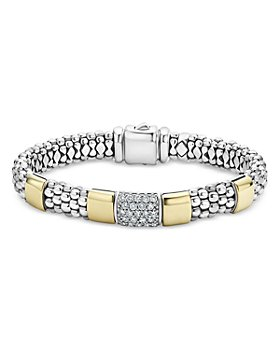 LAGOS - Sterling Silver & 18K Gold High Bar Diamond Bracelet, 7 - 100% Exclusive