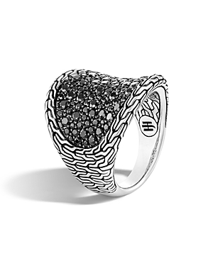 John Hardy Sterling Silver, Black Sapphire and Black Spinel Classic Chain Saddle Ring