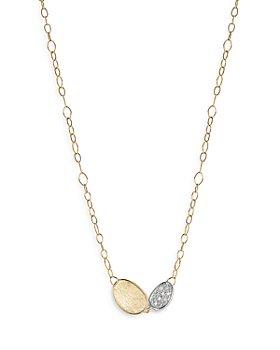 """Marco Bicego - 18K Yellow & White Gold Lunaria Diamond Station Necklace, 16.5"""""""