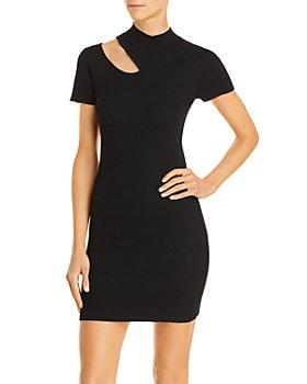 AQUA - Cutout Ribbed Short Sleeve Mini Dress - 100% Exclusive