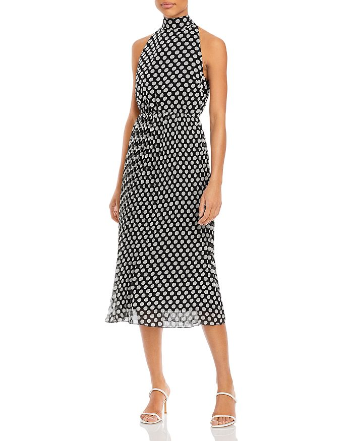 Sam Edelman Polka Dot Pleated Midi Dress In Black/white