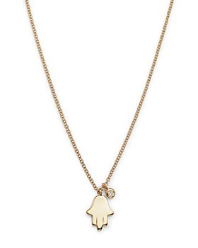 Moon & Meadow - Diamond Hamsa Necklace in 14K Yellow Gold, 0.02 ct. t.w.
