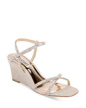 Badgley Mischka - Women's Reagan Square Toe Mini Crystal Embellished Wedge Sandals