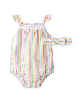 Little Me - Girls' Striped Bubble Romper & Headband Set - Baby
