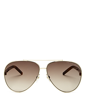 Marc Jacobs Women's Brow Bar Aviator Sunglasses, 51mm In Gold/brown