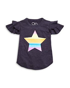 CHASER - Girls' Flutter Sleeve Star Graphic Tee - Little Kid