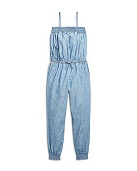 Ralph Lauren - Girls' Smocked Cotton Jumpsuit - Little Kid, Big Kid