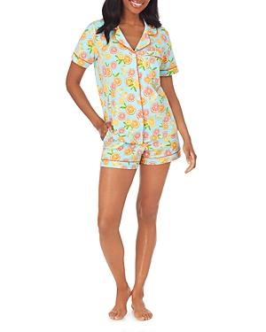 BedHead Contrast Trim Printed Shorts Pajama Set