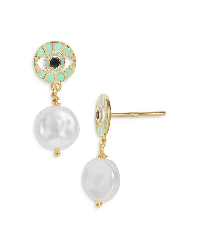 Baublebar Earrings VEDERE FAUX PEARL CHARM EVIL EYE DROP EARRINGS IN 18K GOLD PLATED STERLING SILVER