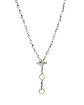 David Yurman - Sterling Silver and 18K Yellow Gold Madison 3 Ring Link Necklace, 17""