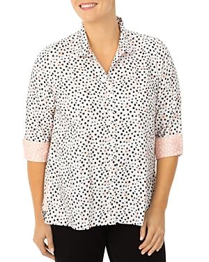 Foxcroft Plus Modern Dots Cotton Shirt