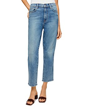 7 For All Mankind - High Waist Cropped Straight Leg Jeans in Sloan Vintage Blue