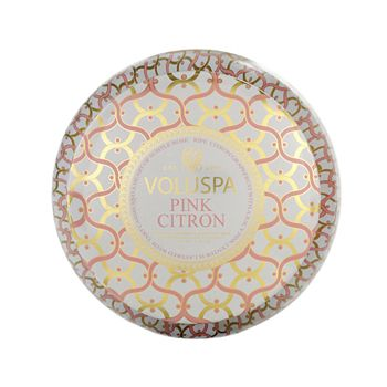 "Voluspa - Maison Blanc ""Pink Citron"" 2 Wick Printed Tin Candle"