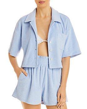 AQUA - Cropped Terrycloth Shirt & Smocked Shorts - 100% Exclusive