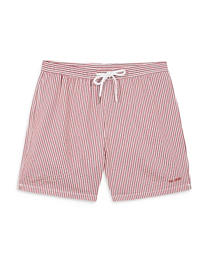 The Dude Embroidered Striped Swim Shorts