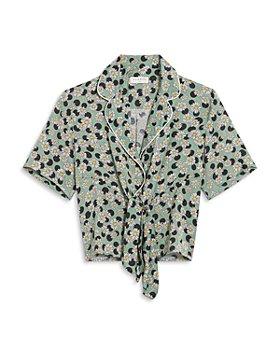 Sandro - Rosa Printed Tie Front Shirt